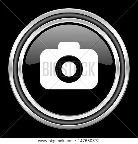 photo camera silver chrome metallic round web icon on black background