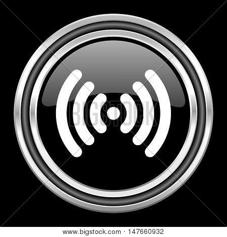 wifi silver chrome metallic round web icon on black background