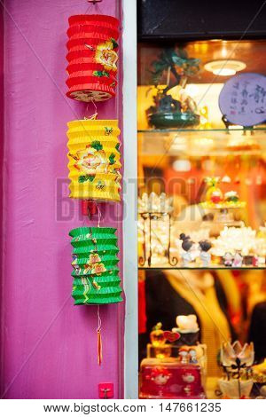 KUALA LUMPUR MALAYSIA - SEPTEMBER 14: Paper lanterns for sale at the Central Market during Mid-Autumn Festival celebrations on September 14 2016 in Kuala Lumpur Malaysia.