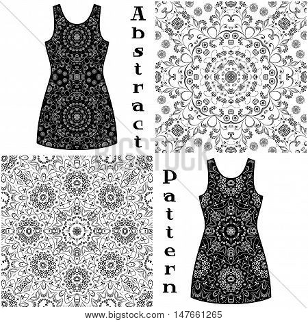 Set Seamless Floral Patterns, Black Symbolical Contours Isolated on White Background, Elements for Your Design, Prints and Banners, For the Example Presented in a Dress. Vector