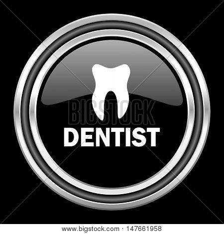 dentist silver chrome metallic round web icon on black background