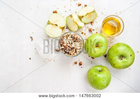 Selection of ingredients for cooking the traditional autumn apple crumble