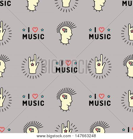 Music seamless pattern thin line art minimal design, Text I love music, punk with a mohawk, Hand Rock N Roll Sign, Hipster style vector illustration. Trendy gray grunge style