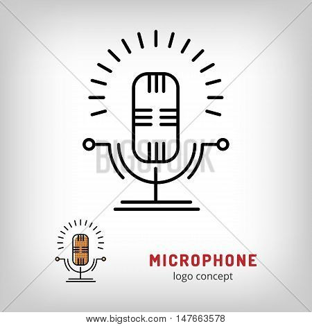 Microphone isolated vector illustration. Modern art thin line of the speaker microphone stand icon, music logo flat design