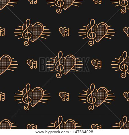 Music notes seamless pattern, thin line art icons notes, treble clef, hearts. Isolated golden icons on a dark background, Vector illustration