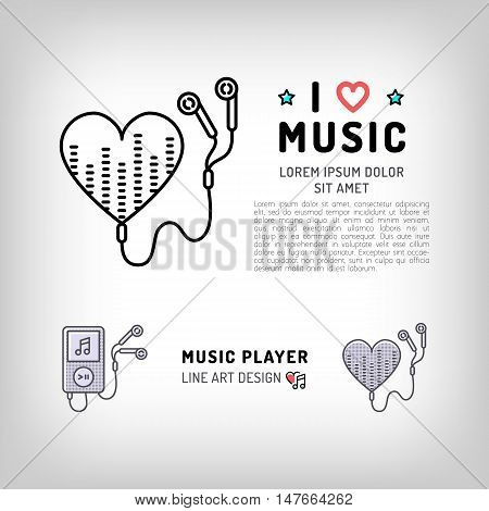 Music player isolated icon, the concept symbols of love for music. Set of vector logos in modern art thin line style, card template, poster or banner