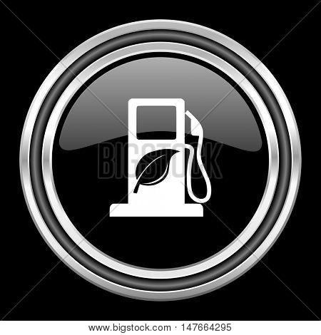 biofuel silver chrome metallic round web icon on black background