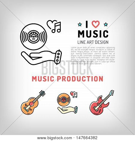 Music production and producing, vinyl record, guitar, the concept symbols of love for music. Vector logos in modern art thin line style, card template, poster or banner for a music studio and shop