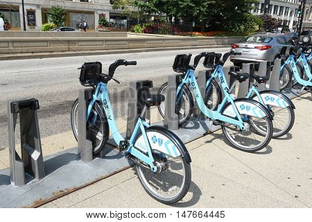 CHICAGO - SEPTEMBER 5, 2016: Divvy Bike Share Station. A program of the Chicago Department of Transportation (CDOT), with thousands of bikes available at more than 580 stations.