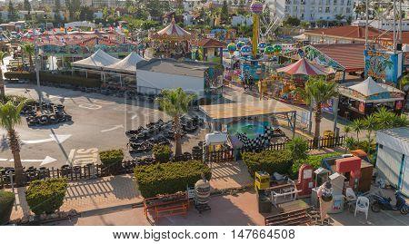 May 29 2014: Photo of amusement park in Aya Napa. Cyprus