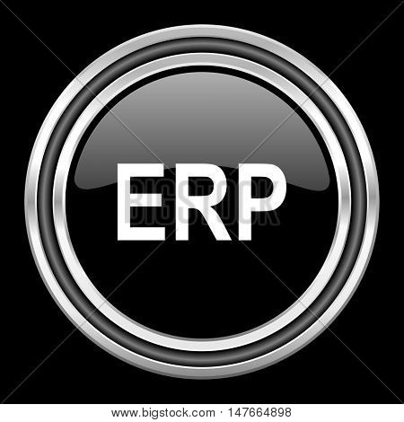 erp silver chrome metallic round web icon on black background