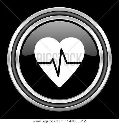pulse silver chrome metallic round web icon on black background