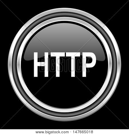 http silver chrome metallic round web icon on black background