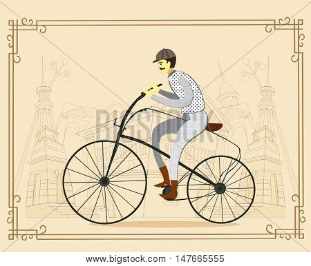 Retro hand drawn gentleman in tweed costume on a bicycle.Illustration on paper background flat cartoon vector illustration. Eps10.