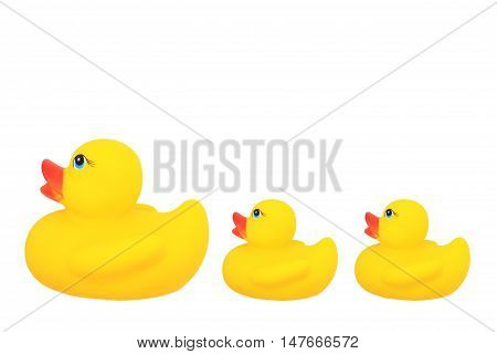 parent dolls and baby duck include mother duck and two baby duck on copyspace isolated on white background