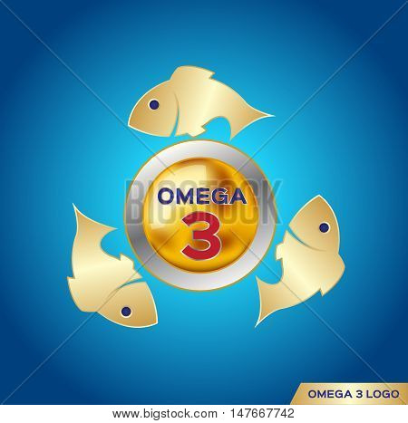 omega 3 icon and logo , vector . and vitamin gold set