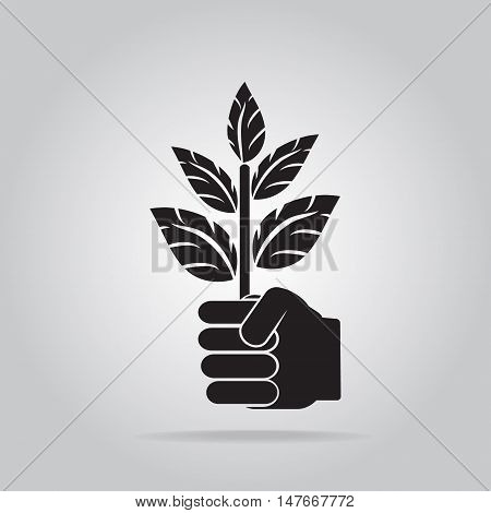 Plant in hand for cultivation icon Growth concept