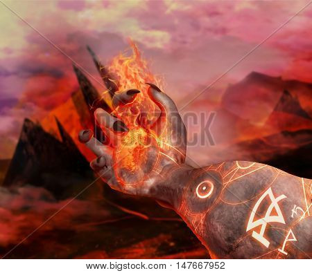 3D illustration of a demonic hand holding fire. 3d first person view demonic hand with magic glowing pentacles holding fireball on a hellish landscape background.