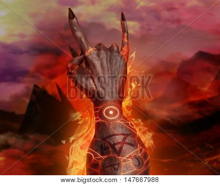 3D illustration of a first person demonic hand. Artwork of a 3d first person view demonic hand showing horn sign and magic pentacle fire effects on hellish landscape background.