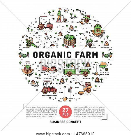 Vector agriculture and organic farm fresh design card template, flyer or web banner. Vector agriculture and gardening circle colorful infographics concept, Farming line art icons