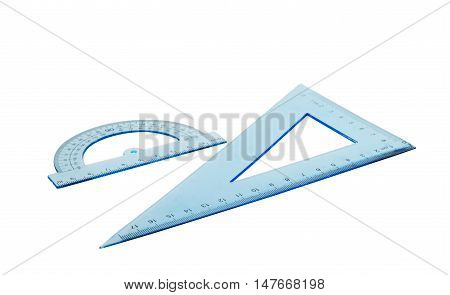 Set of multiple blue plastic rulers and the protractor isolated over the white background