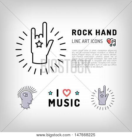 Rock hand sign, Punk rock music icons, the concept symbols of love for music. Vector logos in modern art thin line style