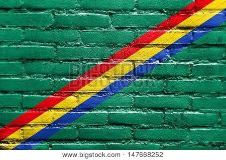 Flag Of Drochia, Moldova, Painted On Brick Wall