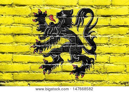 Flag Of Flanders, Belgium, Painted On Brick Wall