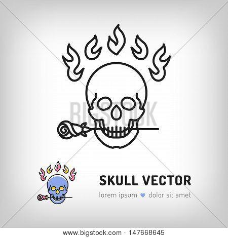 Vector skull logo design template. Modern skull icon in a thin line art style, Logo for the music studio, tattoo salon