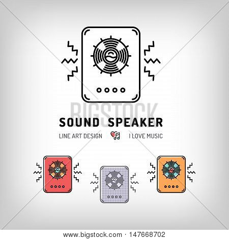 Sound speaker isolated vector illustration. Modern art thin line of the music speakers icon, musical equipment logo flat design