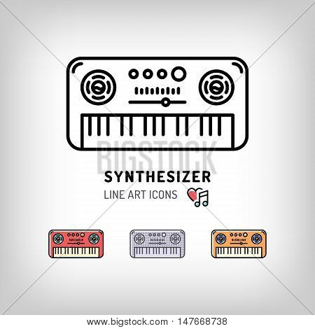 Synthesizer isolated vector illustration. Modern art thin line of the music keyboard icon, musical instrument logo flat design