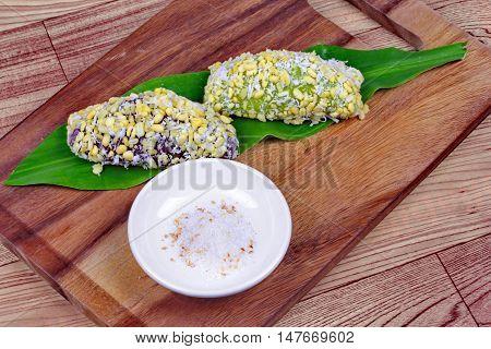Thai mung bean stuffed dumpling as