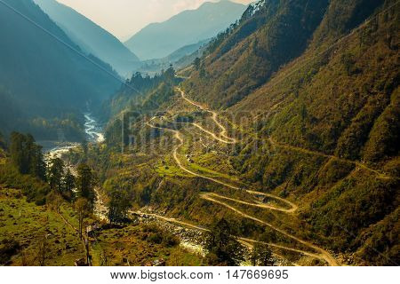 View of Chopta Valley in North Sikkim India.