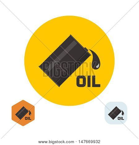 Flank badge with oil and the falling drop. A vector illustration in flat style.