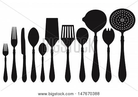 Cutlery set with cooking and serving utensils. Black icons. Vector illustration isolated on white background