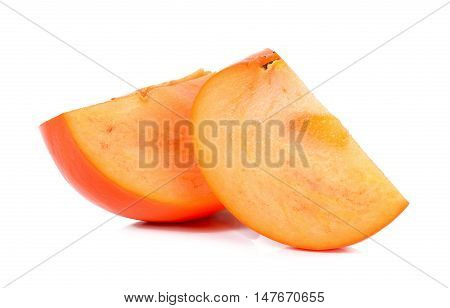 Slice Of Persimmon Isolated On The White Background