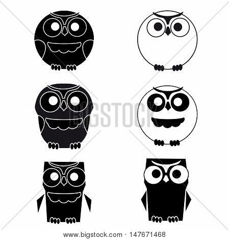 Set of owl. Cute black and white owls set on a white on a white background. Old bicycle flat cartoon vector illustration. Eps10.