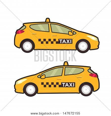 Taxi car icon. Vector flat line illustration. Pop art style