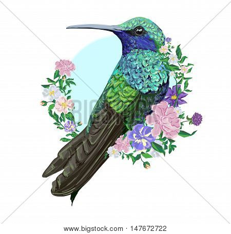 Hummingbird (colibri) illustration bird, bird with flowers.