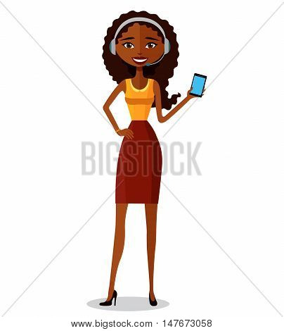 Female call center operator wearing headset and holds phone. African-American woman. Flat modern style isolated on white background.