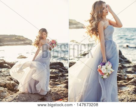 A collage of two photos-happy bride white wedding dress,off-shoulder beautiful long curly blonde hair,bride posing alone,standing on the rocky shore with a wedding bouquet of flowers on a background clear sky and blue ocean in summe