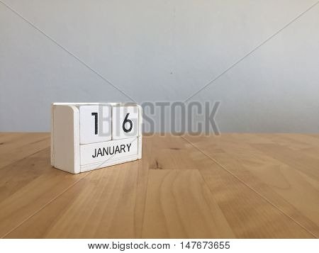 January 16Th.january 16 White Wooden Calendar On Wood Background.copyspace For Text.