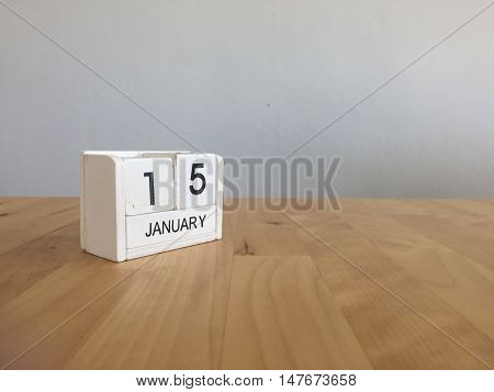 January 15Th.january 15 White Wooden Calendar On Wood Background.copyspace For Text.