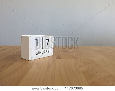 January 17Th.january 17 White Wooden Calendar On Wood Background.copyspace For Text.