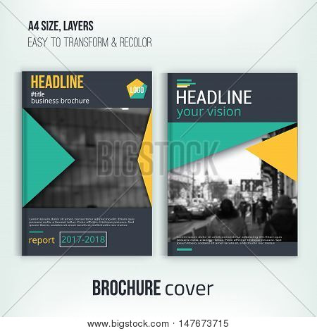 Brochure cover templates with blured city landscape. Business design, flyer , professional corporate