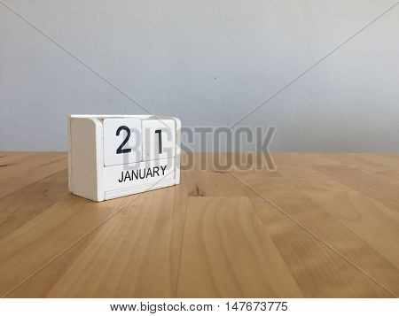 January 21St.january 21 White Wooden Calendar On Wood Background.copyspace For Text.