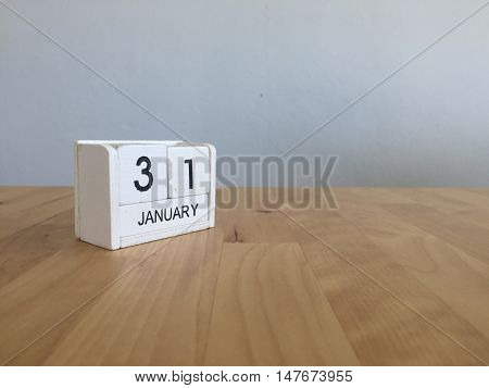 January 31St.january 31 White Wooden Calendar On Wood Background.copyspace For Text.