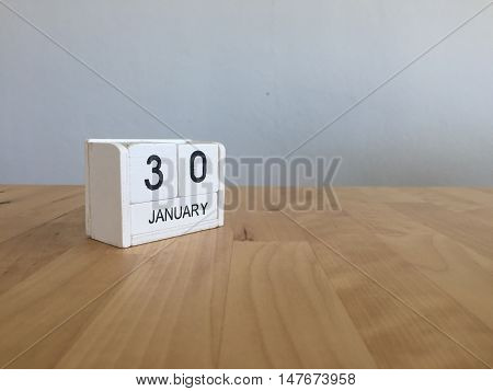January 30Th.january 30 White Wooden Calendar On Wood Background.copyspace For Text.