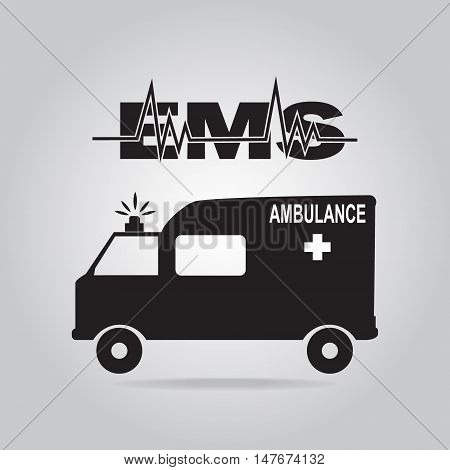 Ambulance and emergency text icon vector illustration