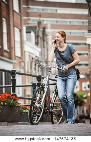 City Life - Woman With Bicycle